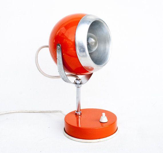Atomic Orange Desk Lamp 70's Vintage