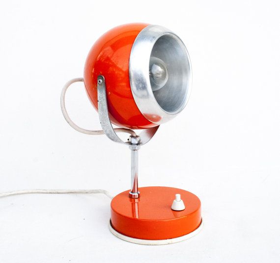 Atomic Orange Desk Lamp 70's Vintage