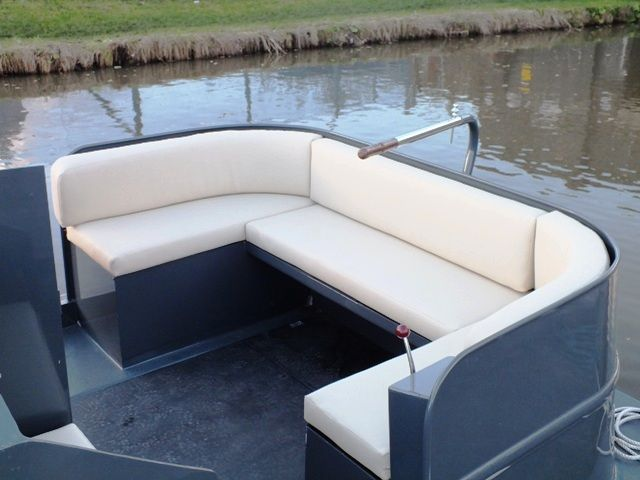 Fabulous seating at the stern of this wide beam