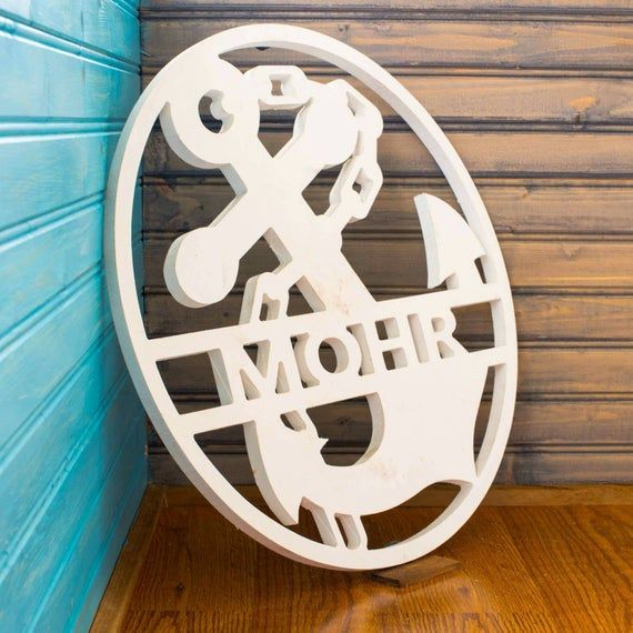 Nautical Anchor With Chain Customized Weatherproof Pvc Sign Etsy In 2020 Wall Hanger Monogram Door Hanger Nautical Anchor