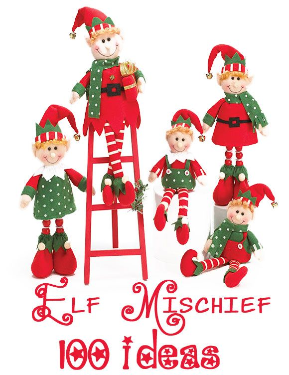 100 Mischievous ELF Ideas. What to do with your Elf on the Shelf. Design Dazzle