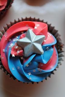 Juli Jacklin's Cupcakes  Captain America Cupcakes