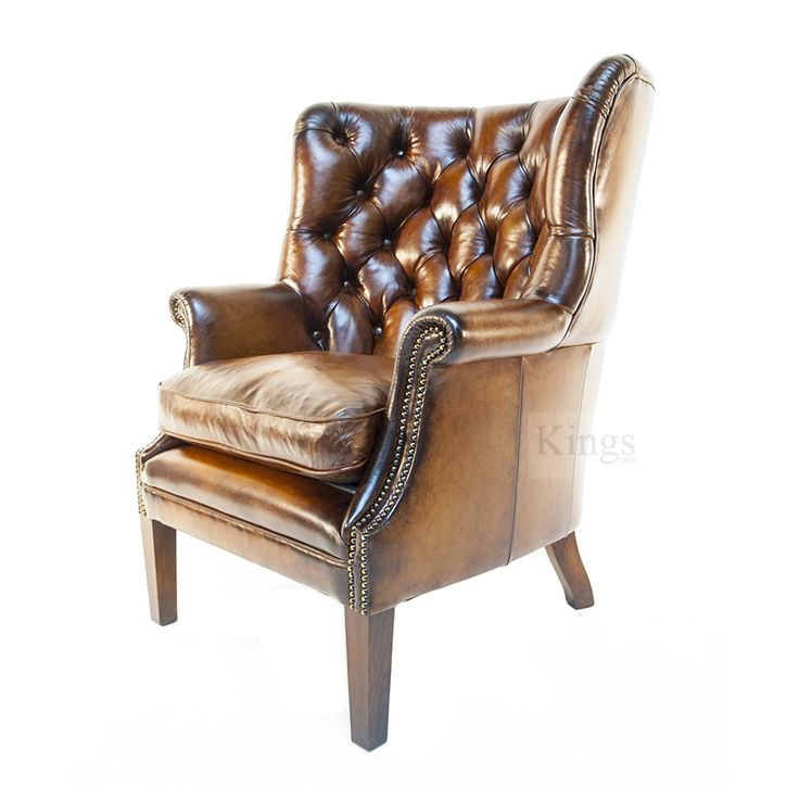 Tetrad Contrast Upholstery Bradley wing chair in antique leather http://www.kingsinteriors.co.uk