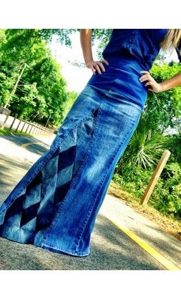 Diamond Patchwork Long Denim Skirt - Apostolic Clothing