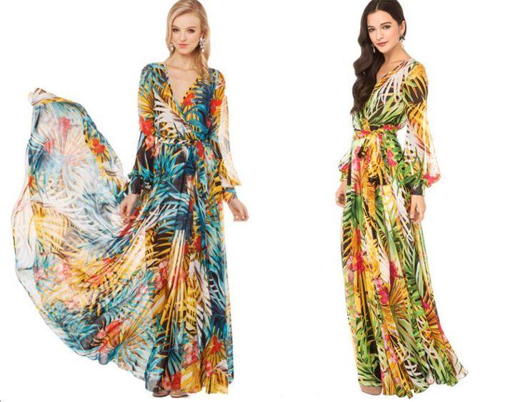 Retrouvez les meilleurs  2014 nouvelle arrivée womens v cou fleur tropicale d'été imprimer robe longue de tempérament en mousseline de soie manches longues au prix de gros avec des fournisseurs chinois de robes décontractées de vendeur  gift_wholesale  sur fr.dhgate.com.