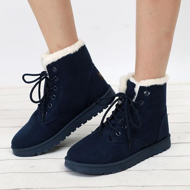 93cdd9f198 Women Winter Snow Boots Warm Flat Platform Lace Up Ladies Women s Shoe –  Costbuys