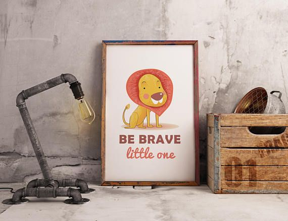Be Brave Little One Lion Nursery Wall Art  Instant Download