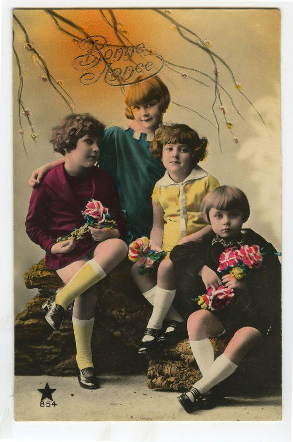 C 1930 детей ребенок милые французские дети тонированные фото открытка | eBay