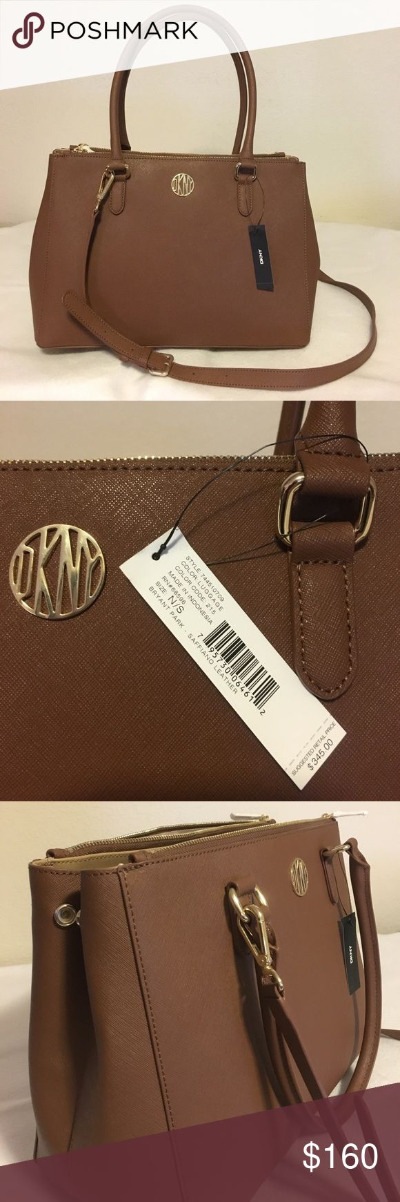 DKNY Genuine Leather Designer Handbag Brown DKNY genuine leather, brown, expandable sides, includes cross body strap, ample storage space, 2 large zippered pouches, 1 smaller zipper pocket, additional interior pockets, sleek profile. DKNY Bags Shoulder Bags