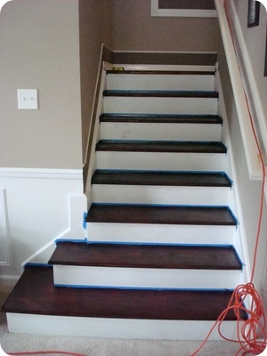 staining treads on wood stairs
