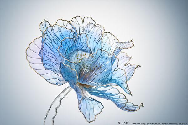 簪作家 榮 -sakae- 2016年 牡丹 簪 【 青牡丹 】 Blue Peony by Japanese Hairpin Artist 2016.