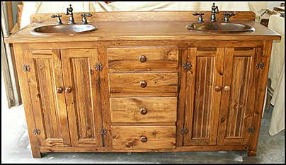 Photo of Front View - Country Bathroom Vanity: Country Pine Vanity with Double Hammered Copper Sinks & Bronze Faucet