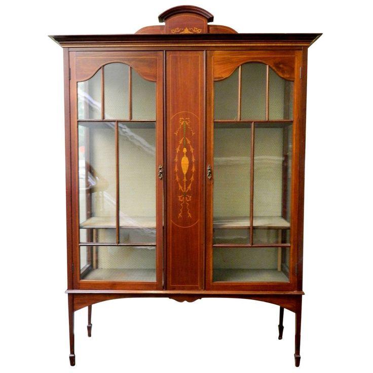 English Sheraton Mahogany Bookcase, Bibliotheque or Display Cabinet