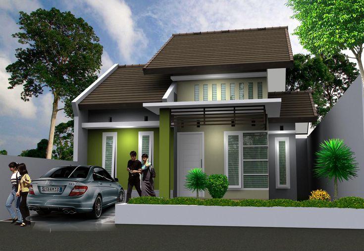 rumah dengan warna hijau dan abu abu