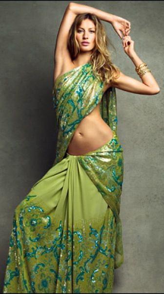 Gisele Bundchen for Vogue India #saree #sari #blouse #indian #outfit #shaadi #bridal #fashion #style #desi #designer #wedding #gorgeous #beautiful