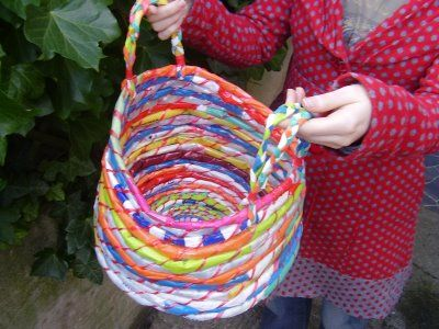 Tutorial-Weaving plastic bags into baskets.  Can also use the technique to make placemats etc.