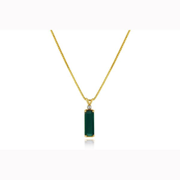 Estate 14k yellow gold green tourmaline and diamond necklace