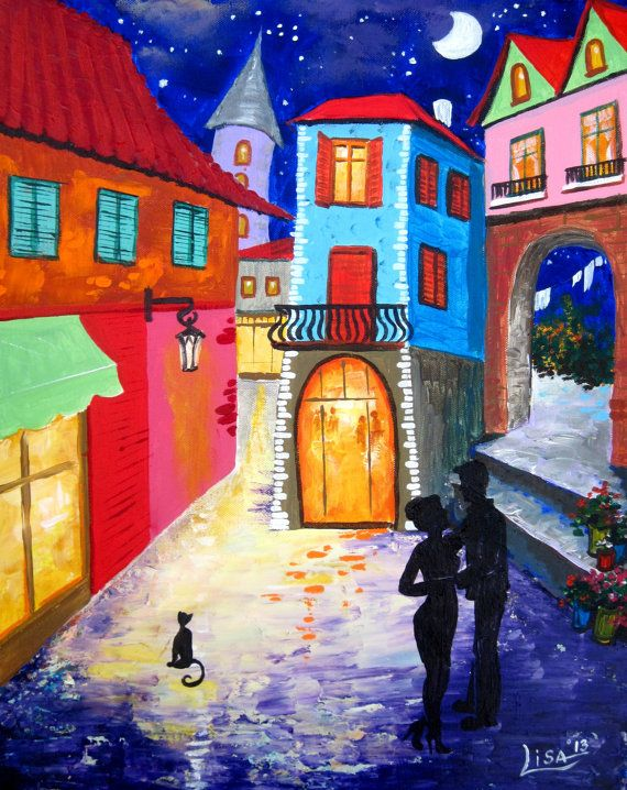 Original Abstract Painting  Old Quarter  by ArtonlineGallery, $185.00