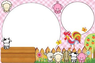Baby Farm in Pink: Free Printable Invitations.