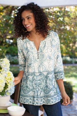 Cote D'azur Tunic I - Print Tunic, 3/4 Sleeve Tunic, Cotton Tunic Top | Soft Surroundings