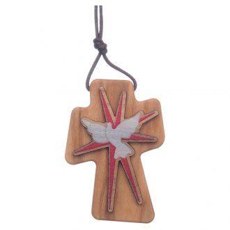 Cruz madera olivo Espíritu Santo relieve 5 cm | venta online en HOLYART