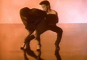 "Prince in the video for ""Kiss."""