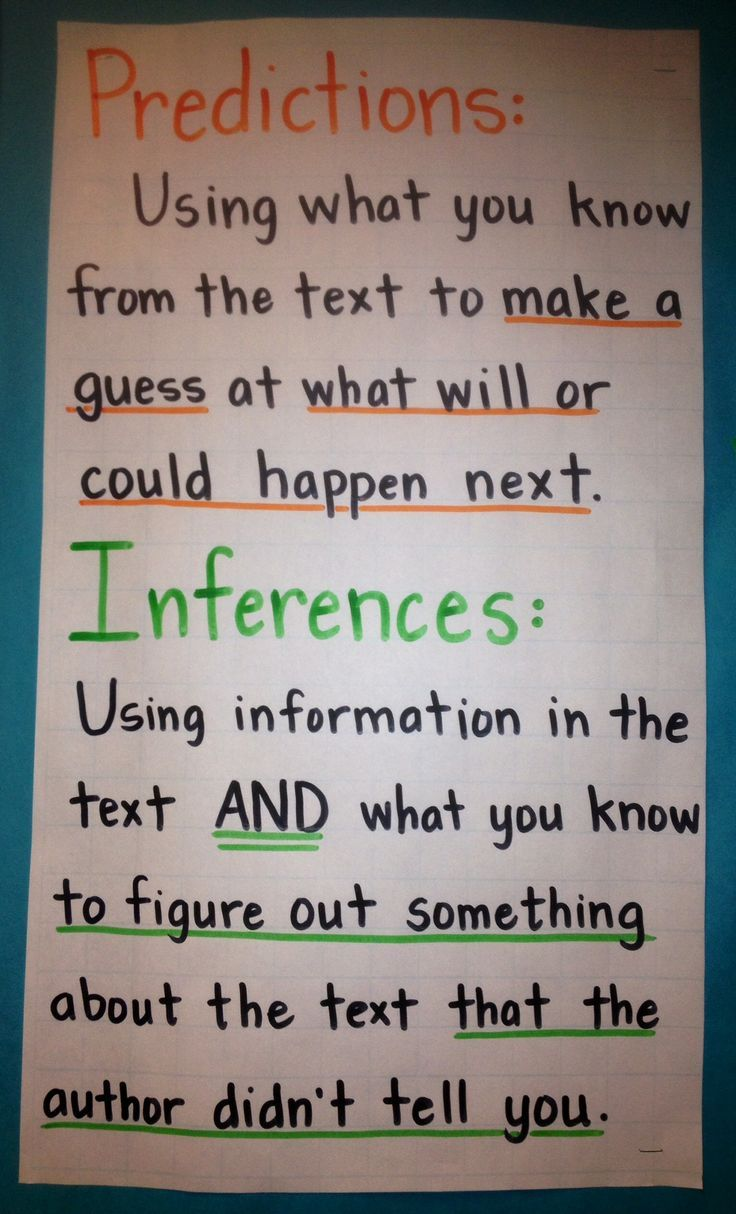Predictions and Inferences anchor chart (image only)