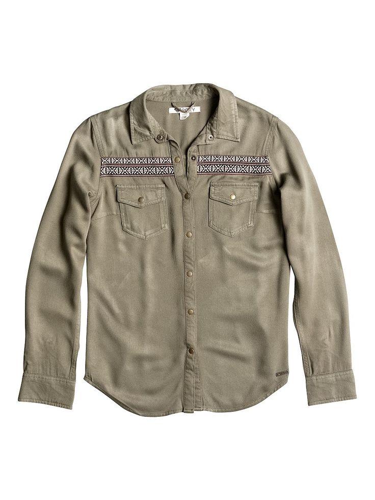 Calippe - Roxy Langärmeliges Militärhemd für Frauen  Calippe Webshirt von Roxy. Die Eigenschaften dieses Produkts sind: langärmeliges Militärhemd, weicher, fließender Viskose-Twill und extra weich dank Enzymwäsche. Dieses Produkt besteht aus: 100% Viskose.  Merkmale:  Langärmeliges Militärhemd, Weicher, fließender Viskose-Twill, Extra weich dank Enzymwäsche, Ethno Jacquard Detail auf Schultern ...