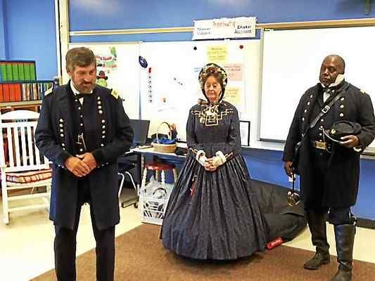 Civil War re-enactors visited Ballard Road Elementary School on Friday.