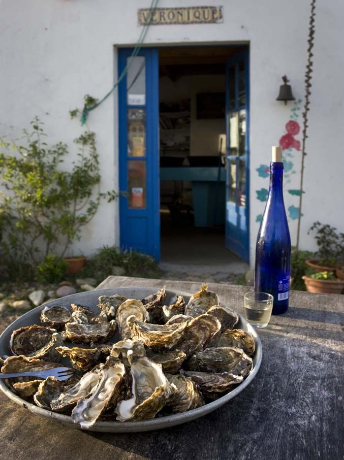 Eating oysters in the sun in Noirmoutier.