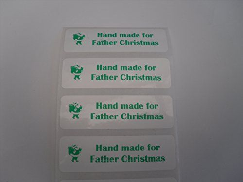 25 stick on Hand Made for Father Christmas labels in green by mumscraftybits http://www.amazon.co.uk/dp/B00OBPSRBE/ref=cm_sw_r_pi_dp_-3Tnub0SRC4CT