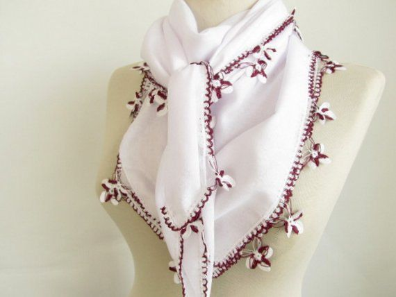White scarvesSquare scarvesTurkish Oya  Scarf..wedding by asuhan, $33.00