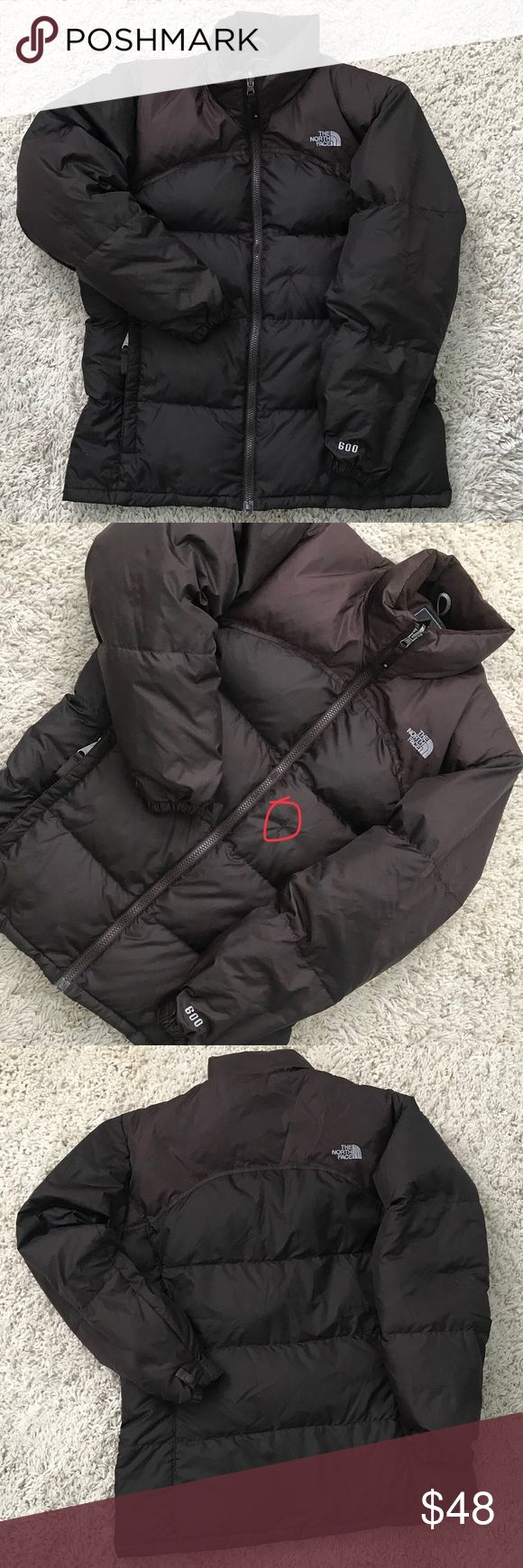 "The North Face 600 Puffer Jacket Coat Girls XL The North Face  600 Puffer Jacket Coat  Girls XL Two tone Brown  Overall good condition except a home on front that was mended 1/2""  Name written on inside and scribbled out The North Face Jackets & Coats Puffers"