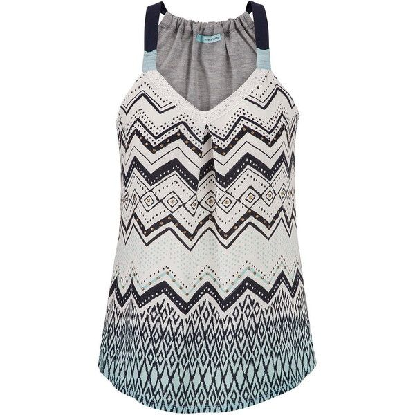 maurices Tank With Ethnic Patterned Chiffon Front In Multi ($29) ❤ liked on Polyvore featuring tops, multi, layering tanks, strappy top, pattern tops, pattern tank top y layering tank tops