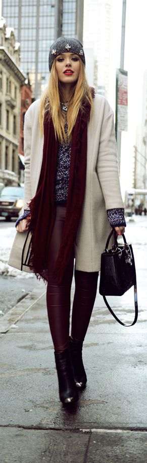 Love the red leather pants and matching scarf