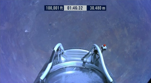 Earth from 100,000 Feet: Red Bull StratosCredit: Red Bull StratosThis view of Earth from an altitude of 100,001 feet was captured by a camera on daredevil Felix Baumgartner's Red Bull Stratos capsule during his attempt at the world's highest skydive, a supersonic leap, on Oct. 14, 2012, over Roswell, N.M.