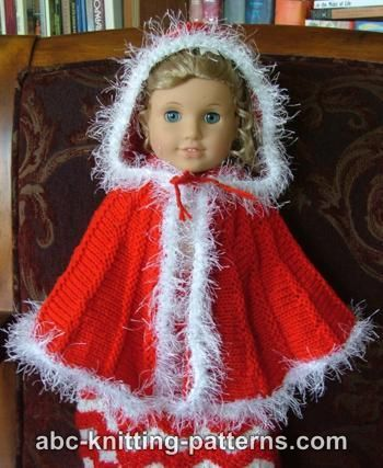 Free instructions for a lovely Knit Doll Cape for American Girl or similarly sized 18-inch dolls. I need to knit one of these for Christmas time.