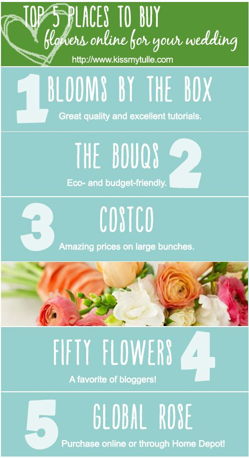 One of the easiest ways to save money on your wedding is to buy your wedding flowers online and either DIY them yourself or purchase pre-made arrangements. Here are my top 5 places to buy flowers online for your wedding!