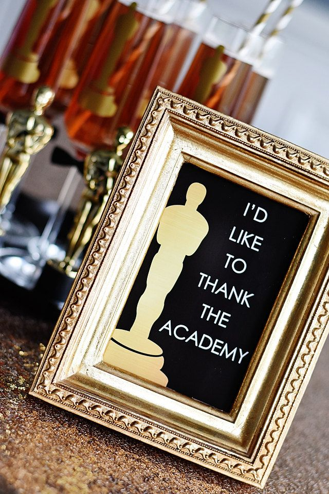 "I'd Like to Thank the Academy Oscars Party 4""x6"" Instant Download Printable PDF Sign, Red Carpet, Golden Globes, Academy Awards, Statue by EmilyEntertains on Etsy"