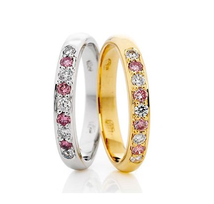 Pink Diamond in a set band - platinum and yellow gold | Holloway Diamonds