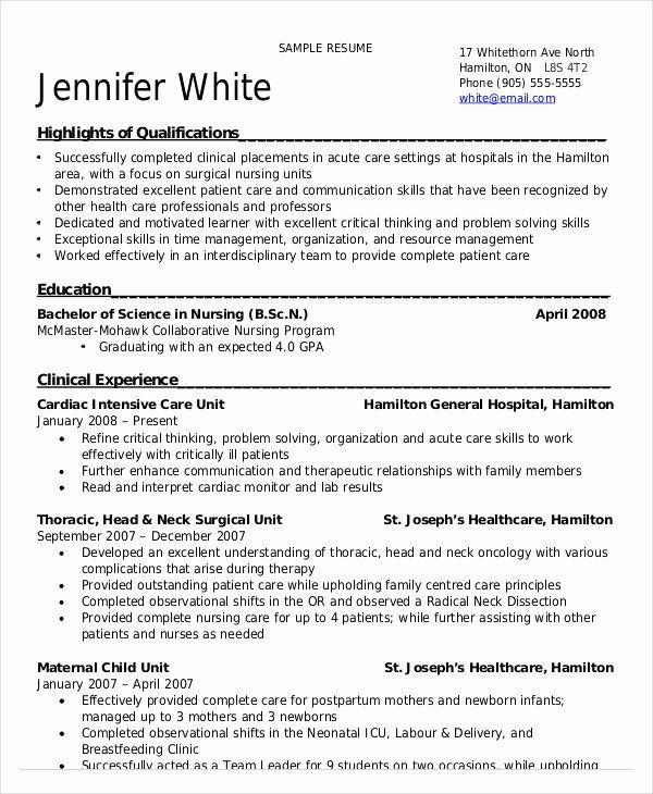 Student Nurse Resume Examples New Nursing Student Resume Example