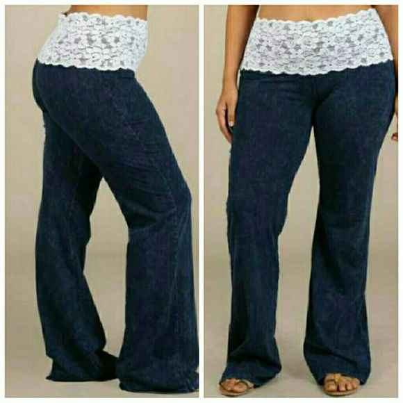 "Lace Waist Boot Cut Mineral Washed Premium Pants Brand new with tags.  Plus size mineral wash lace waist Bootcut legging pants.  2x (36-38"")  These are soft and comfy lounge pants. Fabric is thin and lightweight similar to yoga pants.  Inseam: 31.2 inches www.plussizeforless.com  Pants Straight Leg"