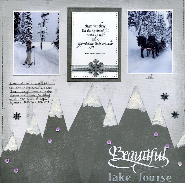 Dark Pointed Firs and Beautiful Lake Louise Scrapbook Layout