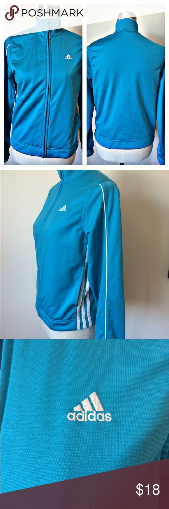 Adidas Bright Blue Zip Up Track Jacket Adidas Bright Blue Zip Up Track Jacket, 100% polyester, size small. Adidas Tops Sweatshirts & Hoodies