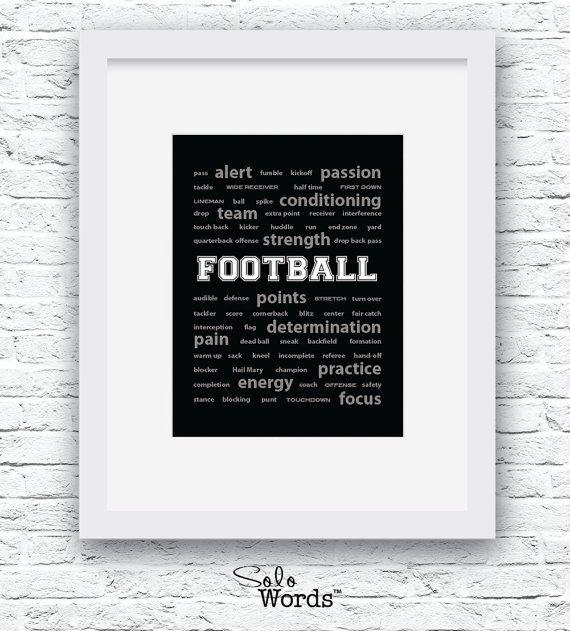 Voetbal woorden Wall Art afdrukbare zwart-witte kunst door Solowords
