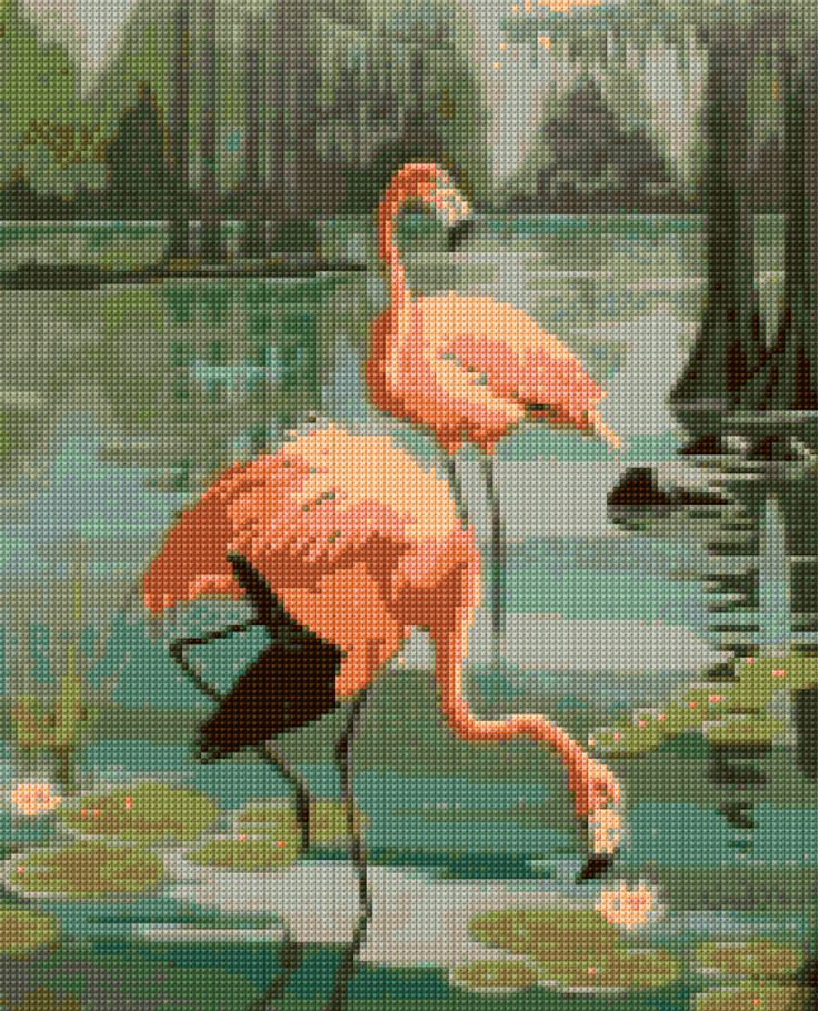 Vintage 1950s Flamingos Cross Stitch pattern PDF - EASY chart with one color per sheet And traditional chart! Two charts in one! by HeritageChart on Etsy