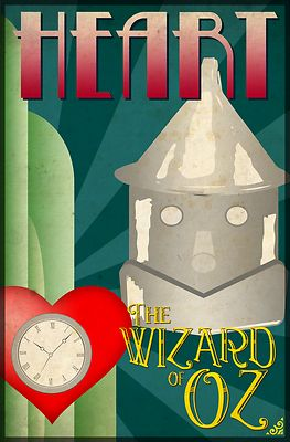 Wizard of Oz Tin Man Deco Poster Design - This art deco inspired poster design featuring the Tin Man from the classic movie, The Wizard of Oz, makes a perfect addition to any fans collection. The word 'Heart' compliments the other four characters designs. Go to WheeDesign.com to collect all 4 main characters including: The Scarecrow, Tin Man, Cowardly Lion and Dorothy.