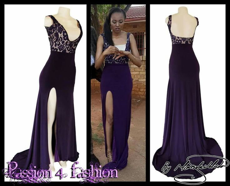 Purple lace bodice matric dance dress with a slit, a train and a low open back. #mariselaveludo #fashion #matricdance #matricdress #passion4fashion #lace #purpledress #promdress #eveningdress