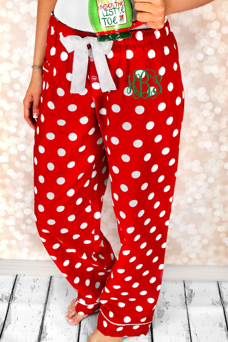 These polka dot pants are perfect for lounging around the house or for on the go! Girls will stay comfy while looking fabulous in these trendy pants! Personalize your pants with a colorful 3 Initial M