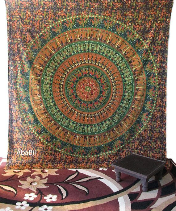 Large Indian Elephants Camels Flowers Printed Tapestry by Ababil